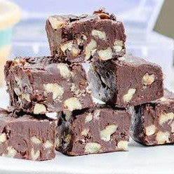pure Belgian chocolate and walnut nut fudge, wholesome and clean