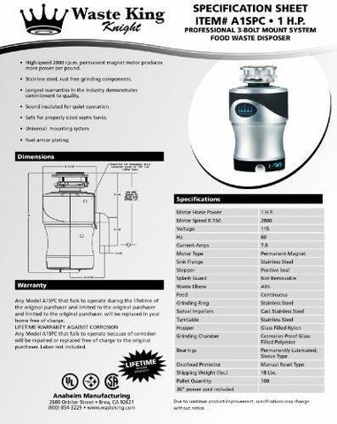Waste King 1.0 Horsepower Garbage Disposal with Exclusive Silencer Technology, A1SPC Knight