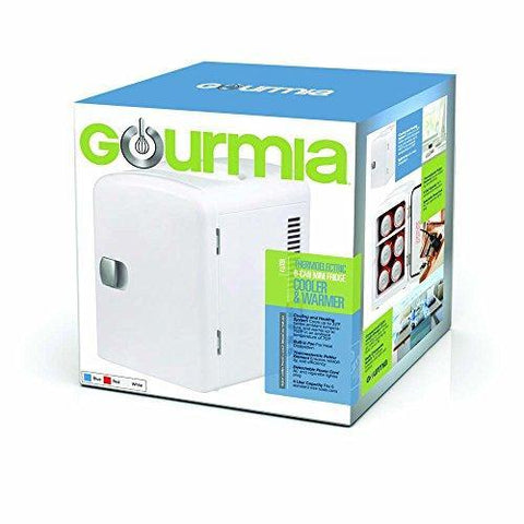 Gourmia GMF600 Portable 6 Can Mini Fridge Cooler and Warmer for Home ,Office, Car or Boat AC & DC, White - 110V