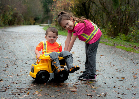 High visibility safety gear stops cars faster and keeps kids safer
