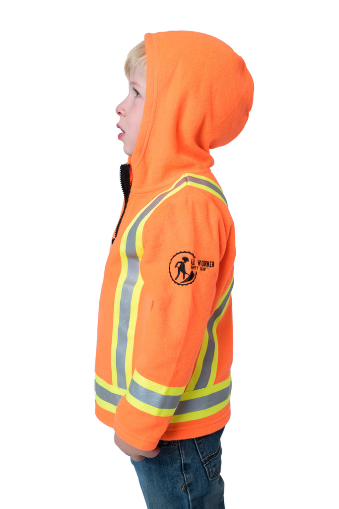 Hi Viz Kids' Fleece Safety Hoodie Orange