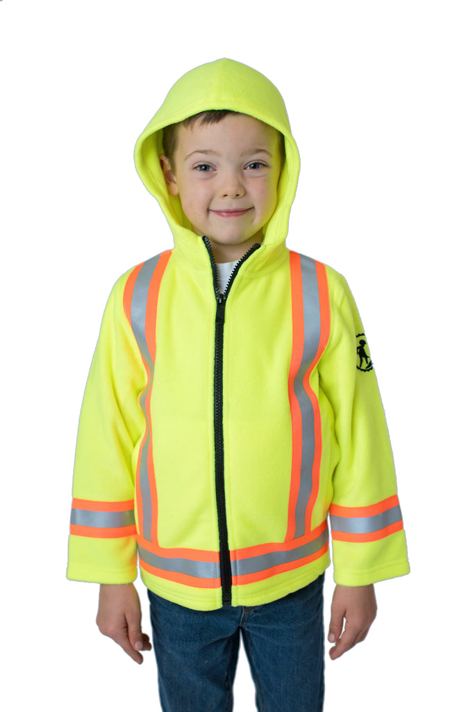 High Viz Kids' Fleece Safety Hoodie Yellow
