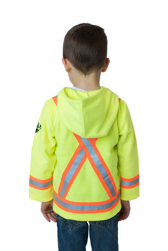 Hi Viz Kids' Fleece Safety Hoodie Yellow