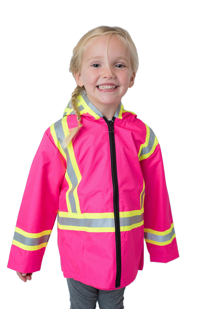 High Viz Kids' Safety Rain Jacket Pink