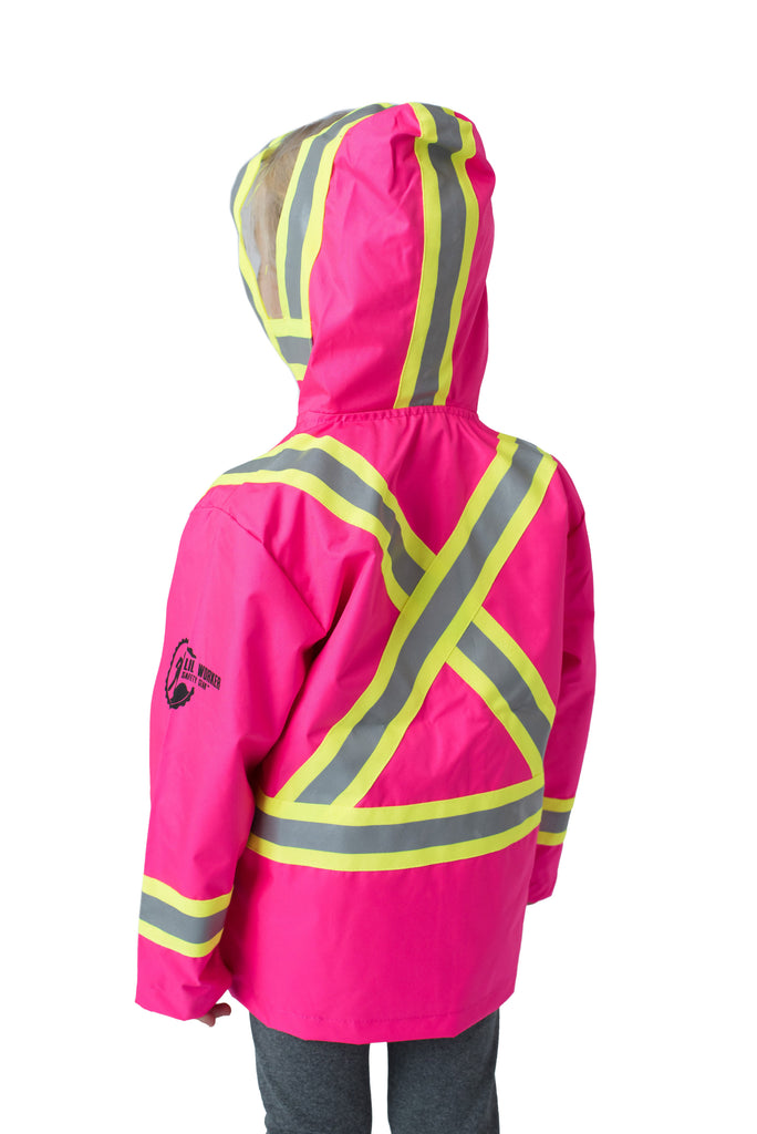 Hi Viz Kids' Safety Rain Jacket Pink