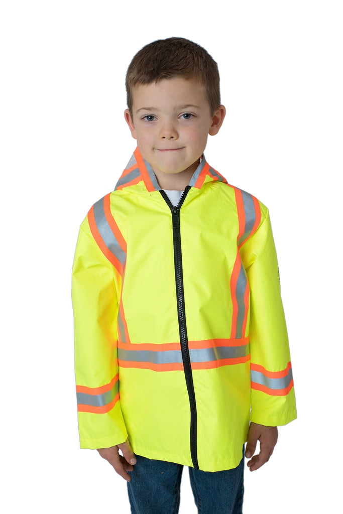 High Viz Kids' Safety Rain Jacket Yellow