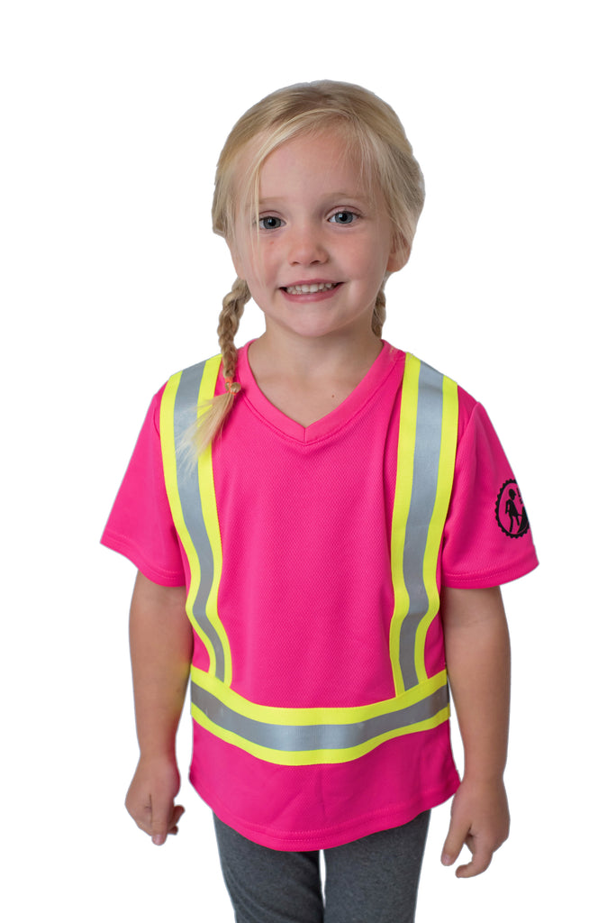 Hi Viz Kids Safety Shirt Pink