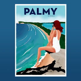 PALMY, 1960s retro artwork.
