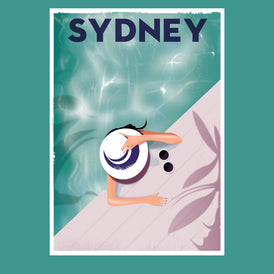 SYDNEY DIP, 1960s retro artwork.