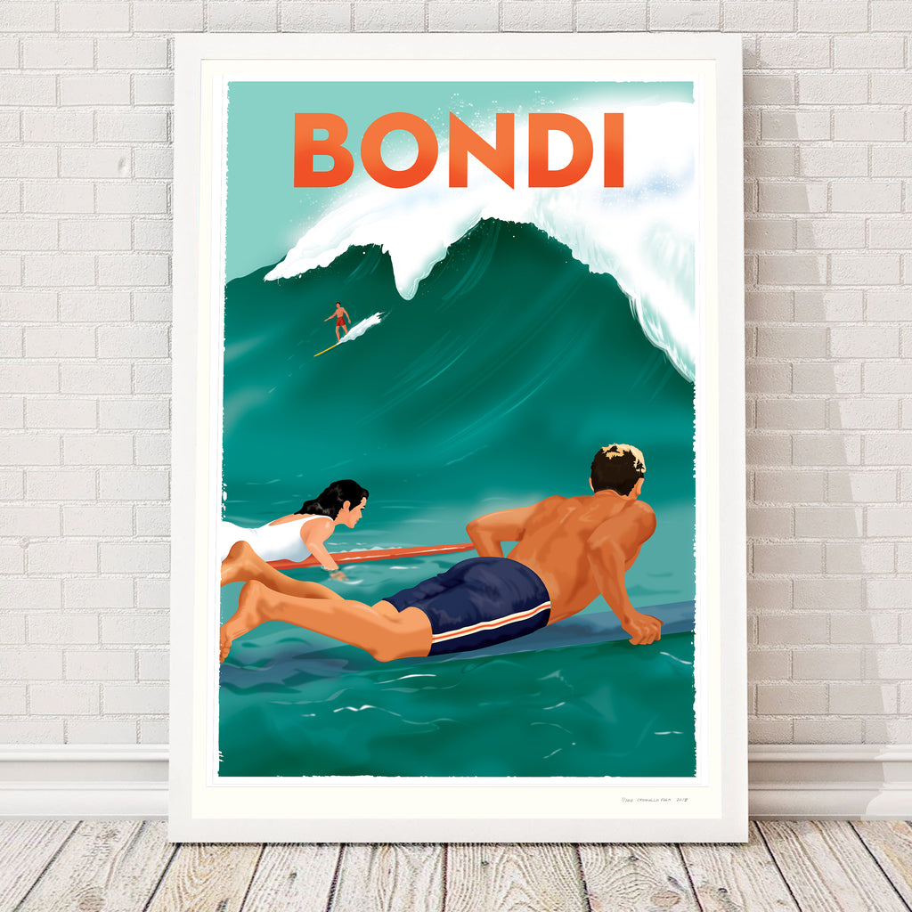 BONDI IS CALLING, 1960s retro artwork.