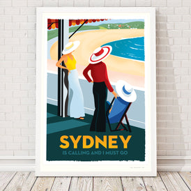 SYDNEY (BONDI) IS CALLING, 1960s retro artwork.