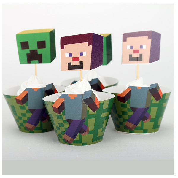 Minecraft Cupcake Wrappers and Toppers Value Pack(12 PCS) - icoshero