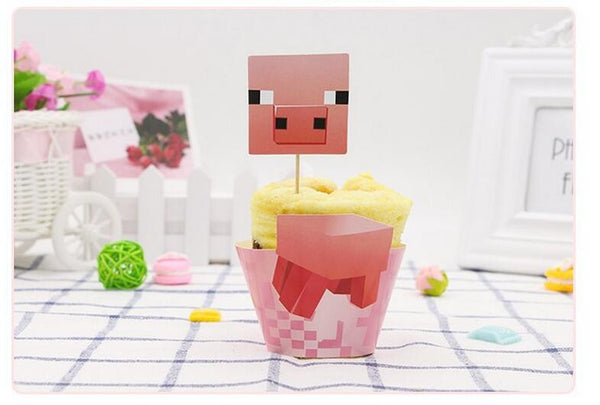 Minecraft Characters Collection Cupcake Wrappers and Toppers Set of 16 - icoshero