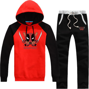 Marvel Comics Deadpool Fleece Pullover Hoodie Pants Sportswear Set - icoshero