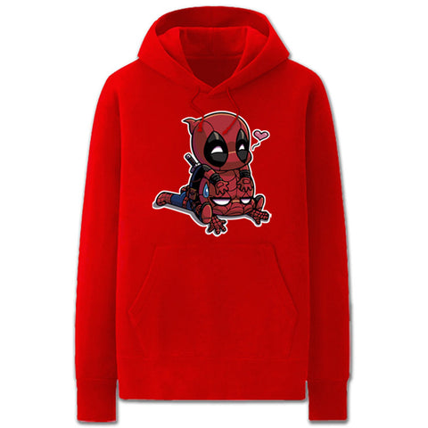 Marvel Spideypool Deadpool Spiderman Pullover Fleece Hoodie - icoshero