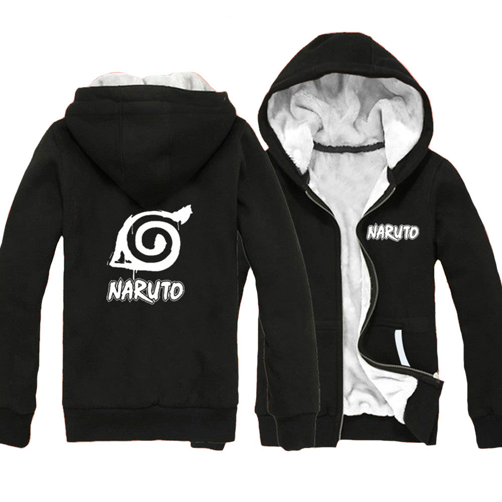 Anime Comics Naruto Fleece Thicken Zip Closure Hoodie - icoshero