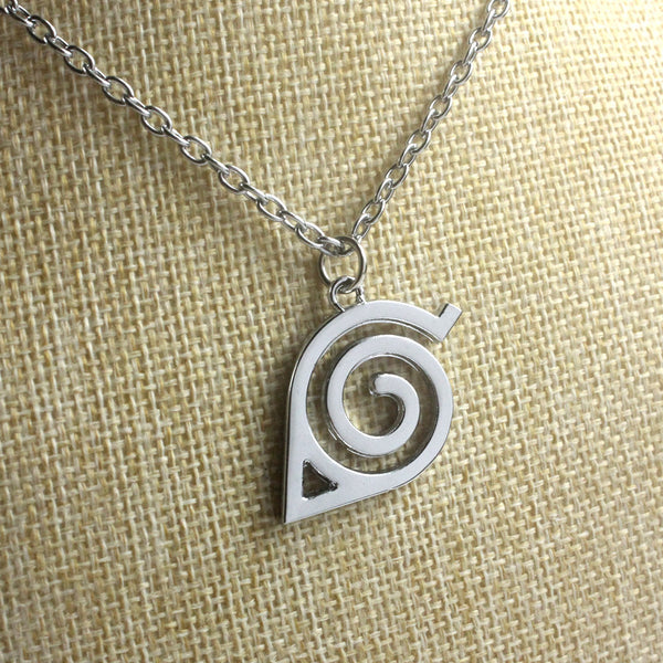 Naruto Konoha Mark Silvery Pendant Zinc Alloy Necklace Small Accessory - icoshero