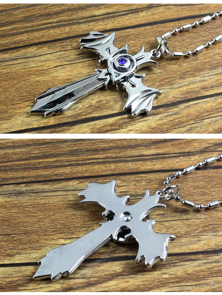 Naruto Konoha Gaara Sharingan Akatsuki Zinc Alloy Rotatable Cross Pendant Necklace - icoshero