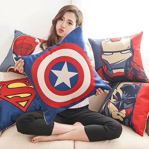 Marvel DC Catptain America The Avengers  Superman Batman Spiderman Square Cartoon Pillow Case Cushion - icoshero