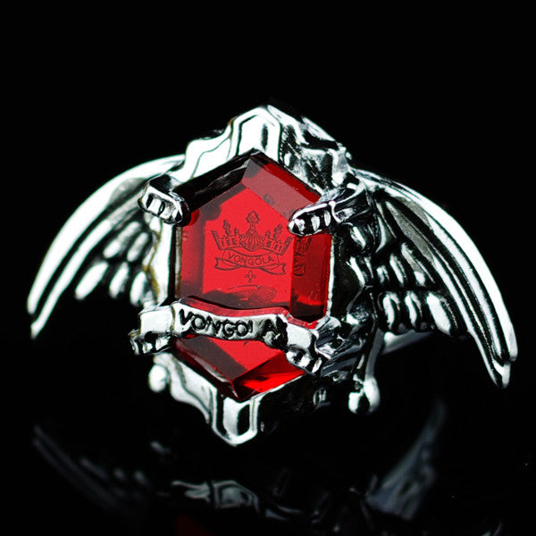 Katekyo Hitman Reborn Vongola Family Guaraians Single Artificial Gemstone Ring(including chain) - icoshero