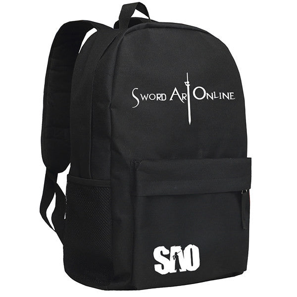 Sword Art Online Logo Patterns Black Backpack Knapsack Bag - icoshero