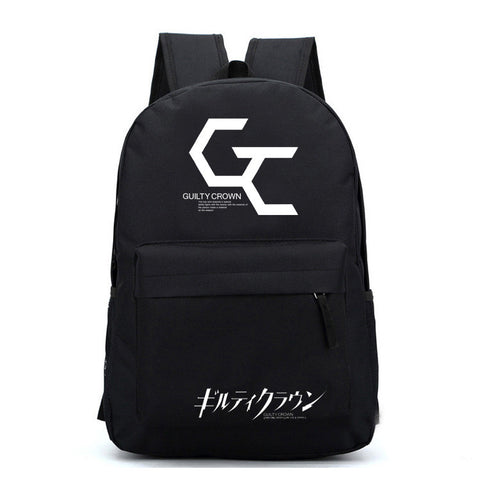 Guilty Crown Logo Pattern Black Backpack Bag - icoshero