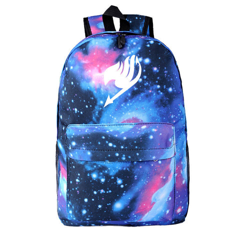 Fairy Tail Guild Mark Logo Dreaming Blue Purple Starry Sky Backpack Knapsack Bag - icoshero