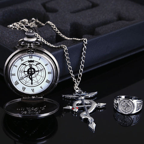 Fullmetal Alchemist Edward Elric Pocket Watch & Ouroborous Necklace & Ring Set - icoshero