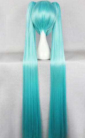 "Hatsune Miku Vocaloid Cosplay Wig Hairpiece Light Blue&Blue-green 130cm/51.18"" - icoshero"