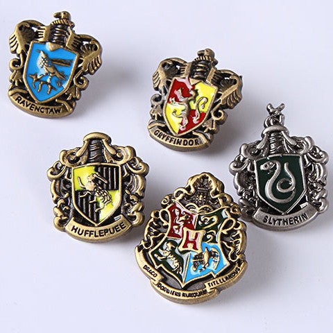 Harry Potter Hogwarts School Metal Badge Pin Set(5 pcs) Gryffindor&Ravenclaw&Slytherin&Hufflepuff - icoshero
