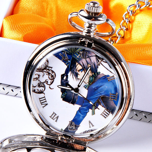 Black Butler Ciel Phantomhive Pattern Hollowed-out Pocket Watch - icoshero