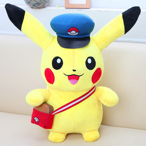 Pokemon Go Pikachu Mailman Jumpsuit Fleece Plush Toy 20cm/45cm, Gift for Kids - icoshero