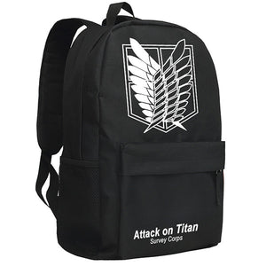 Attack on Titan Wings of Freedom Survey Corps Mark Pattern Black/Camo Backpack Bag - icoshero