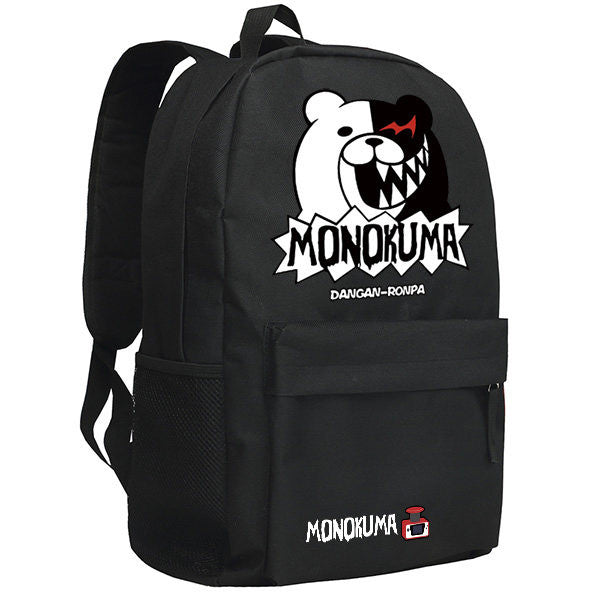 Danganronpa Hope's Peak Academy  Monokuma Cartoon Pattern Black Backpack Bag - icoshero