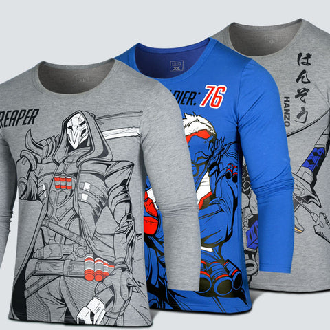 Overwatch Reaper/Hanzo/Soldier:76 Long Sleeve Printed Patterns T-shirt - icoshero