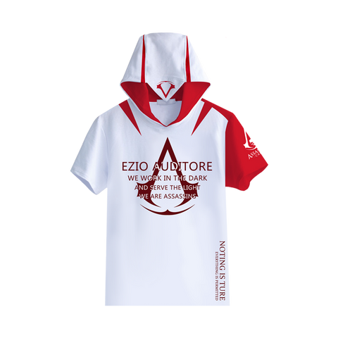 Students' Assassin's Creed: Syndicate Unity Hooded Short Sleeve Sports T-shirt Top - icoshero