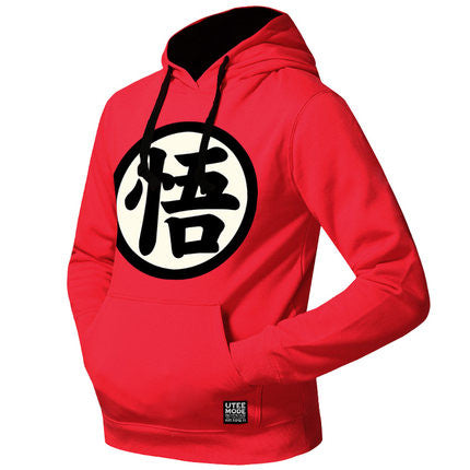 Men's Dragon Ball Logo Printed Fleeced Hoodie (Go) - icoshero