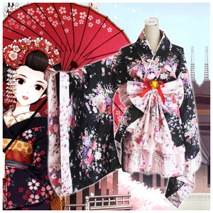 Cosplay Lolita Halloween Fancy Dress Japanese Sakura Kimono Costume - icoshero