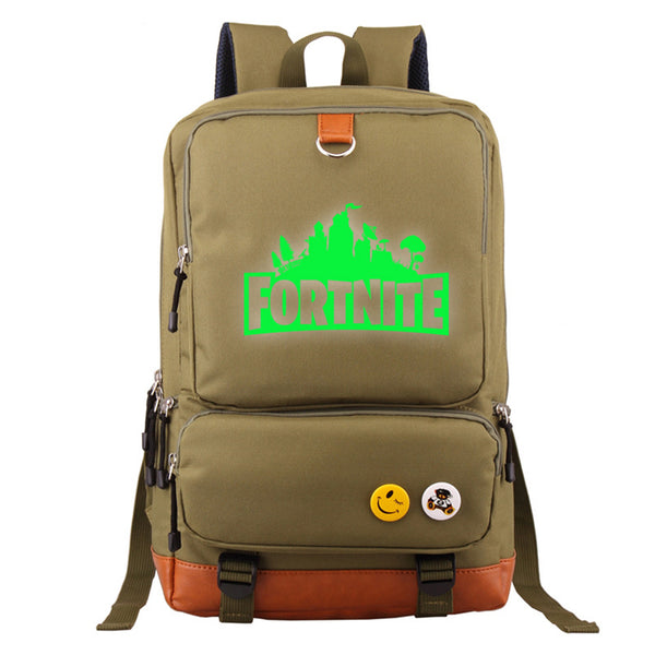 "Game Fortnite 17"" Canvas Student Backpack - Green Luminous - icoshero"