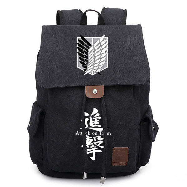 Anime Comics Attack On Titan Rucksack Backpack - Black - icoshero