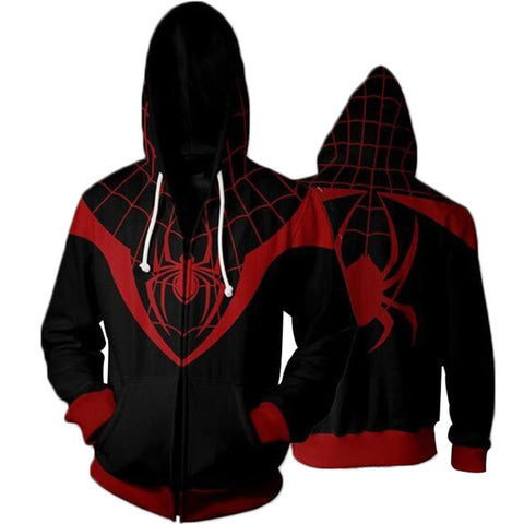 The Avengers Black Spider Man Zip Up Hoodie MZH00N - icoshero