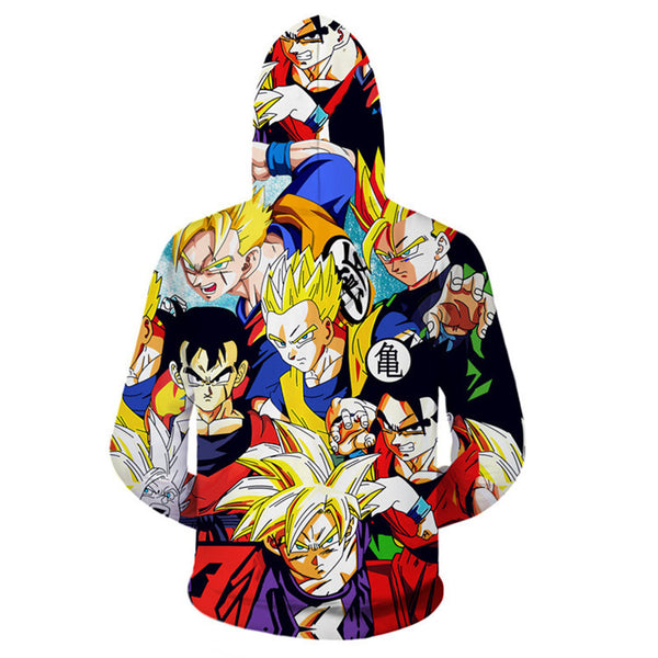 Dragon Ball Z Super Saiyan Zip Up Hoodie MZH036 - icoshero