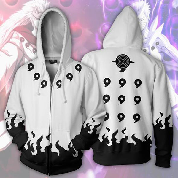 Naruto Rikudou Sennin Mode White Zip Up Hoodie MZH513 - icoshero