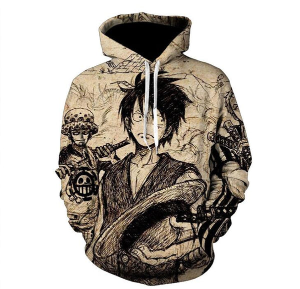 One Piece Monkey D. Luffy Pullover Hoodie MZH555 - icoshero