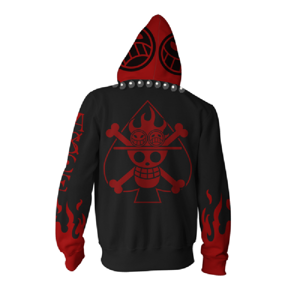 One Piece Portgas D. Ace Zip Up Hoodie MZH617 - icoshero
