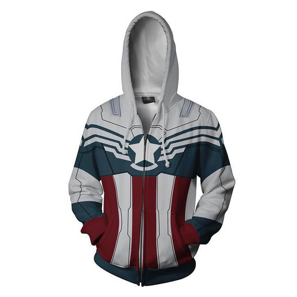 Captain America Falcon Zip Up Hoodie MZH637 - icoshero