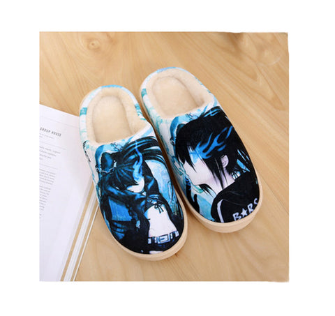 Anime Collections Print Fleece Room Slippers——Black Rock Shooter - icoshero
