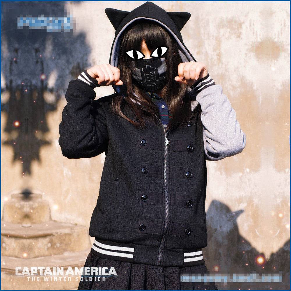 Captain of American Winter Solider Hoodie with Cat Ear for Ladies or Girls - icoshero