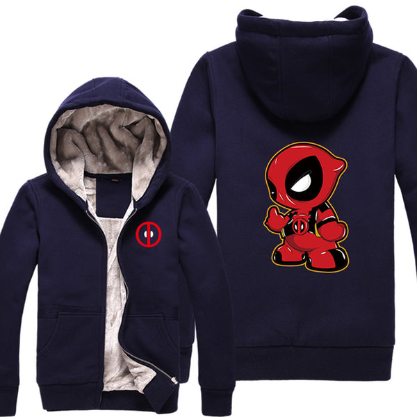 Men's Superhero Cartoon Winter Thicken Fleece Zip Up Hoodie - icoshero