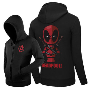 Men's Marvel Deadpool Fleece Zipper Closure Hoodie - icoshero